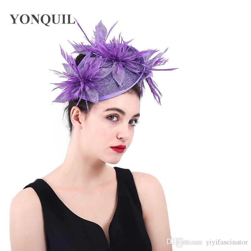 2018 New Lavender Imitation Sinamay Fascinators Elegant Ladies Feather  Floral Hat Hairclips Wedding Party Derby Hair Accessories SYF393 Ladies  Hats Uk ... 9a6e725a827