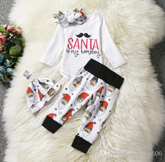 16475b499 Christmas Pattern Newborn Infant Baby Boy Girls Long Sleeved Romper  Tops+Pants+Hat Kids Clothes Sets Baby Clothing Sets Baby Outfit Online with  $11.43/Set ...