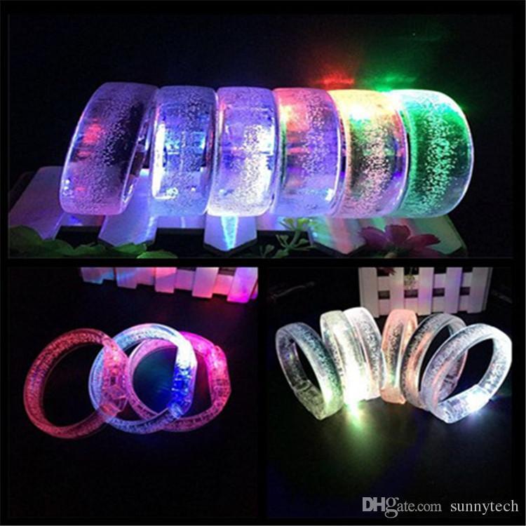 2019 Led Wedding Favors Vente Directe Led Multi Couleur Bulle Clignotante Lumière Up Glow Fashion Rave Partie Bracelet Bracelet LX0037