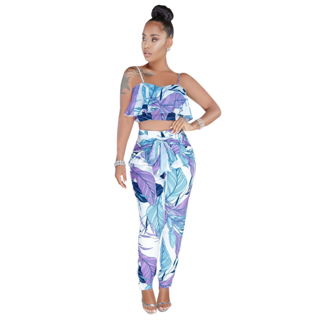 d97bfaaff0 2019 Ruffles Boho Summer Beach Outfits Print Two Piece Pants Sets Women  Strapless Crop Top Pant Sets Sashes Trouser Suits 3XL From Sheju, $33.49 |  DHgate.