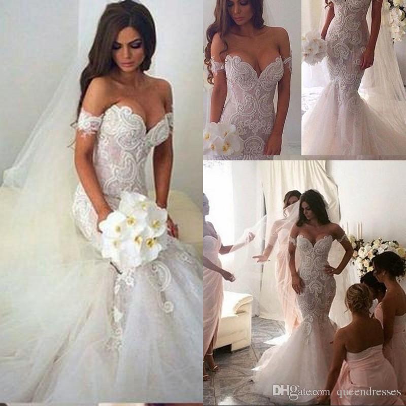 Vestidos De Novia Designer White Lace Mermaid Wedding Dresses Cap