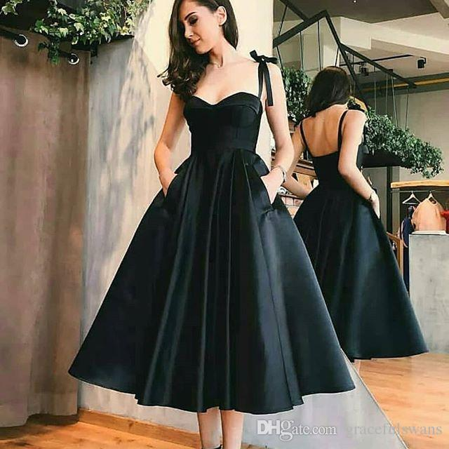 53e045e0a91f Spaghetti Straps A Line Satin Prom Dresses Tea Length Black Formal Dresses  With Pockets Backless Bridesmaid Dresses Vestidos De Gala 2018 Custom Prom  ...