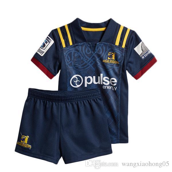 2018 Highlanders Super Rugby niños JERSEY Nueva Zelanda Super Rugby Union Highlanders Camisetas de rugby de alta temperatura tamaño 18-20-22-24-26-28