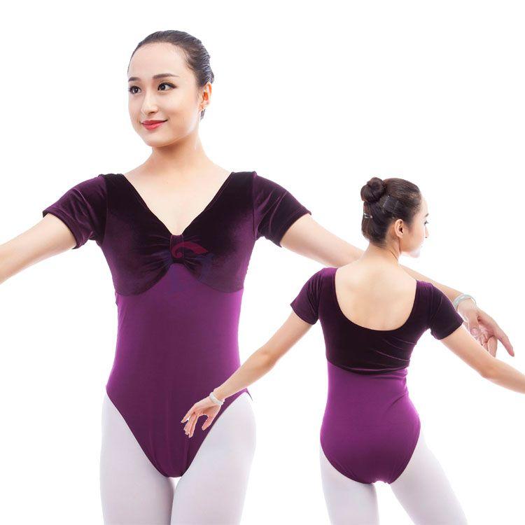 cc88c6346 2019 In Stocks Adult Velvet Ballet Dance Leotards With Short Sleeves ...