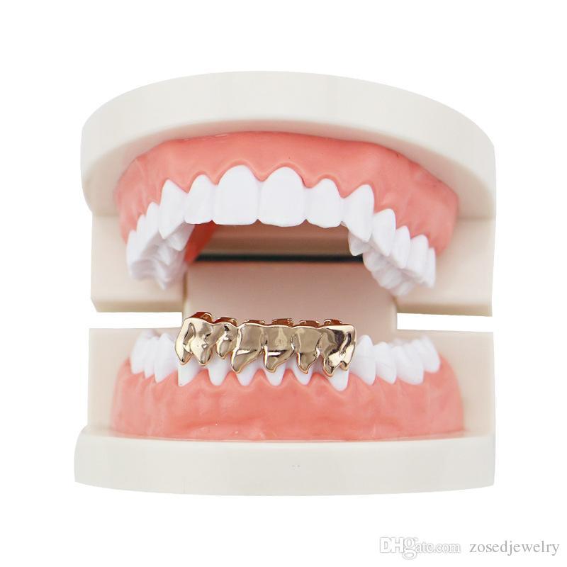 NOVITÀ Hiphop Gold Grills Tappi a forma di griglia i denti Inferiore inferiore Perm Cut Real Grill Griglie denti Danno silicone e pinzette