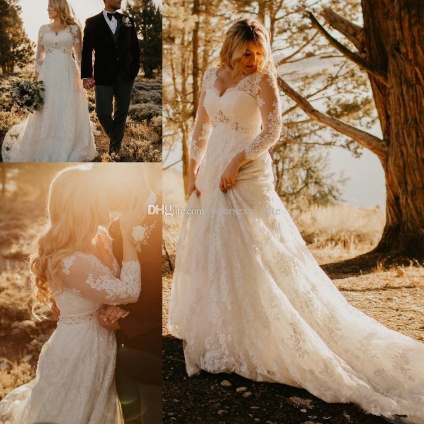 Plus Size Lace Wedding Dresses V Neck Crystal Waistline Long Sleeves Elegant Wedding Gowns Autumn Bridal Dresses 2018 - 2019