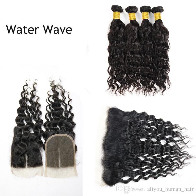 8A Brazilian Virgin Hair Bundles with Closure Straight Kinky Curly Water Body Deep Wave Weaves with Frontal Peruvian Indian Cambodian Hair