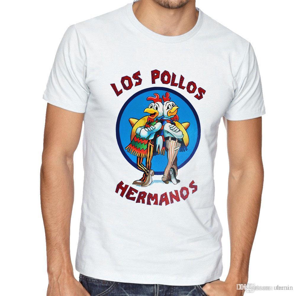 251dbdce9dd33 Compre Al Por Mayor Breaking Bad T Shirts Hombre Los Pollos Hermanos Camisetas  Divertidas Reales Chicken Brother Manga Corta Ropa De Moda De Algodón De ...