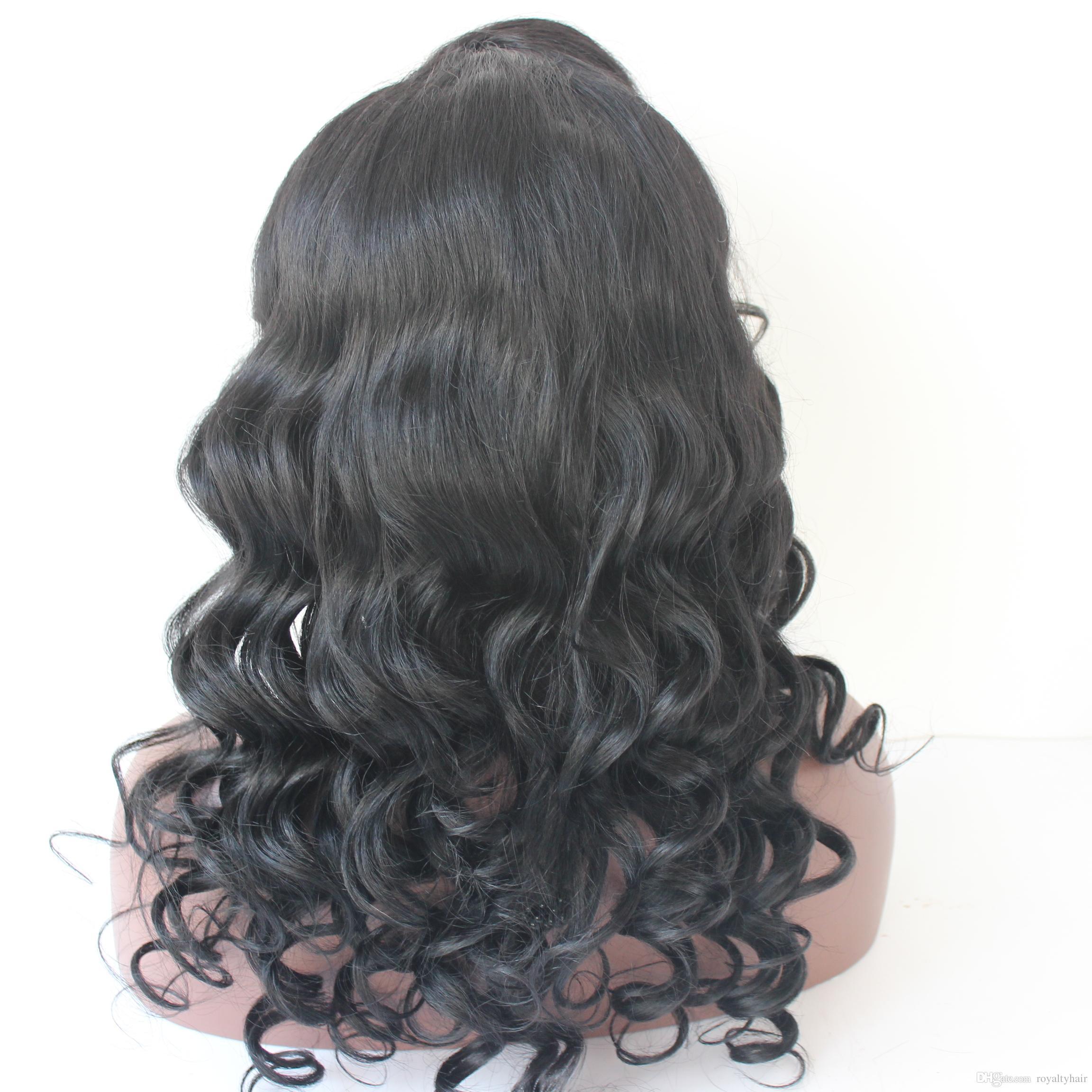 Pelucas de cabello humano de onda suelta con flequillo de parte lateral Peluca peruana de encaje completo sin procesar Nudos blanqueados Pelucas delanteras de encaje Sin cola