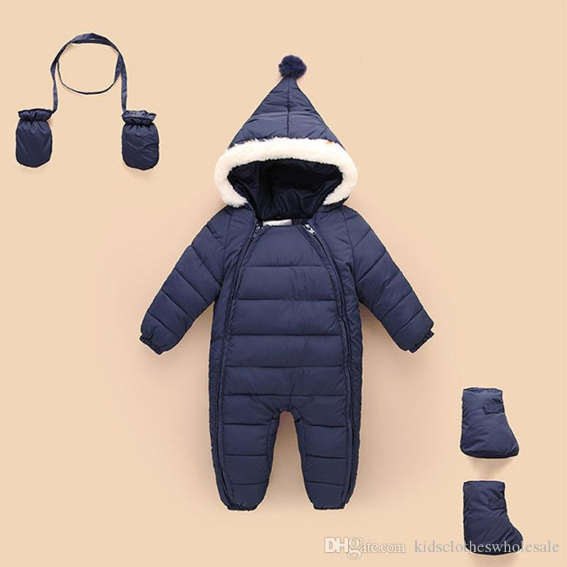4e534b97dfca9 Down Cotton Baby Rompers Winter Thick Boys Costume Girls Warm Infant ...