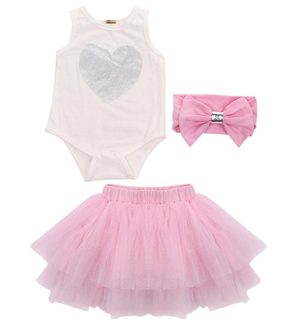 2019 Baby Girls Clothes 1st Birthday Cake Bodysuit Tutu Skirt Ball