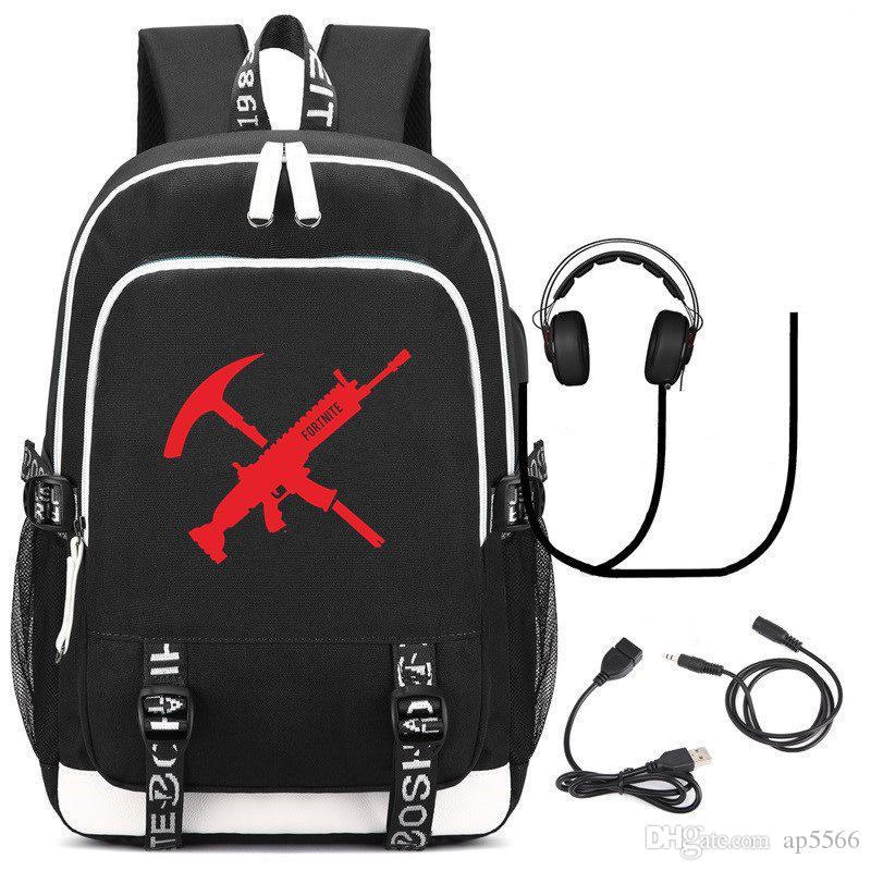 ee9ecbeb7688 2018 Top Sell Fortnite Battle Royale Shoulder Travel Student School Backpack  Cartoon USB Charge Laptop Computer Backpack For Teenager Rucksack Jansport  ...