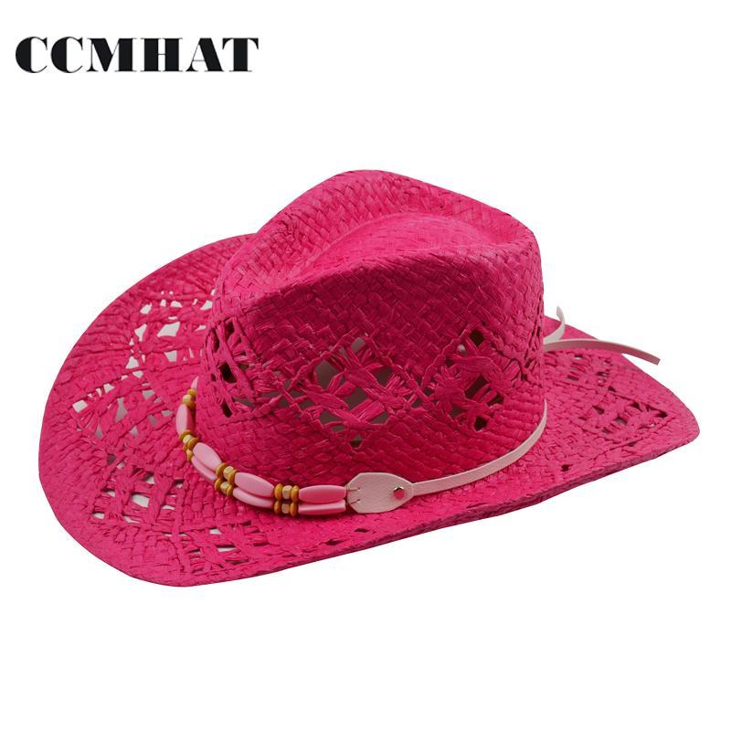 c80e9131cce34 Compre Chapéus De Cowboy Das Mulheres Chapéus De Palha Grande Vermelho  Adulto Moda Verão Cowboy Para Oco Das Mulheres Tampas De Chapéu Acessórios  De Roupas ...