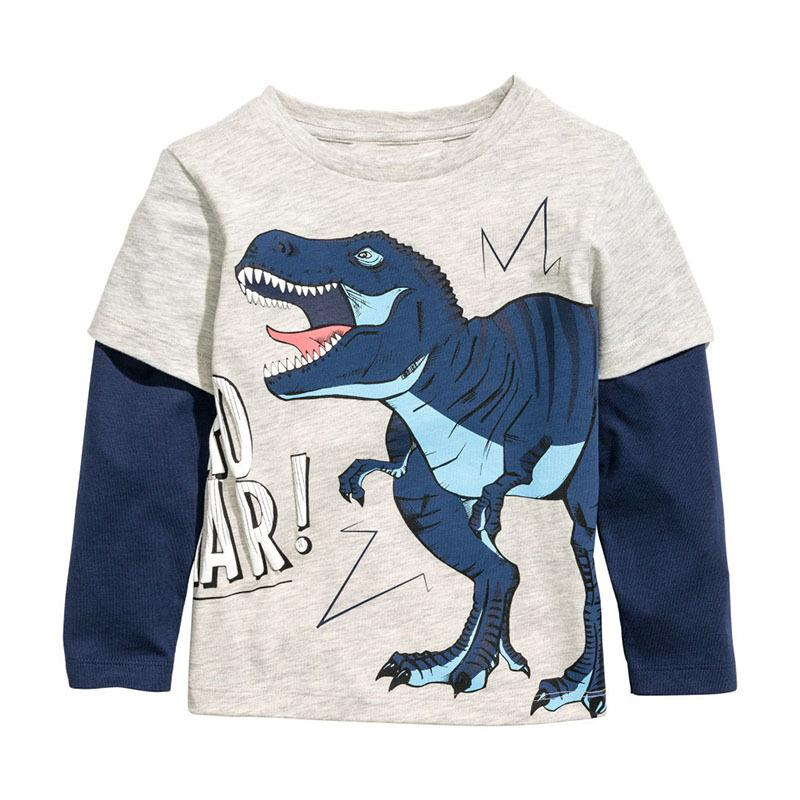 Baby Boys T-shirt Children Clothing dinosaur Clothes Boys Long Sleeve Tops Kids T-shirts for Boy Sweatshirt Factory Cost Cheap Wholesale