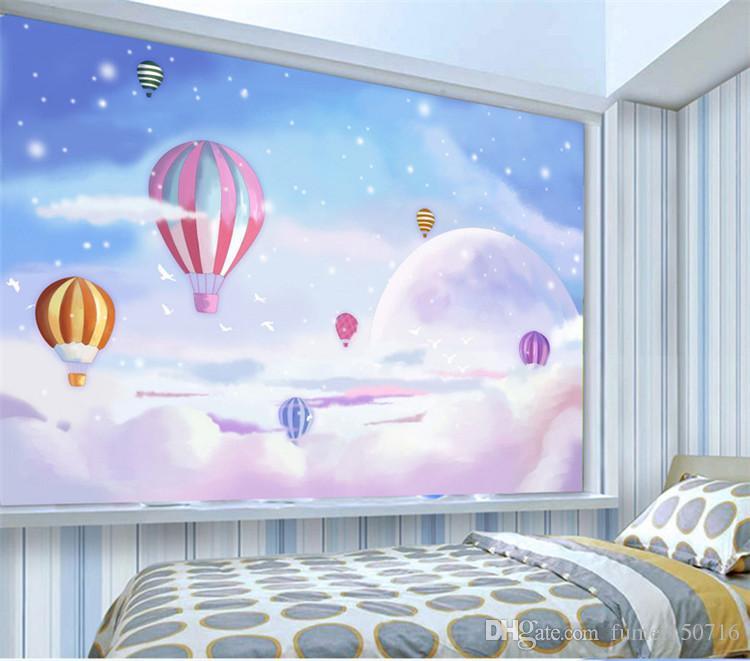Özel Herhangi Boyutu Akdeniz Sıcak Hava Balon çocuk Odası Yatak Odası Zemin Duvar Kağıdı dokunmamış 3D Karikatür Duvar Kağıdı