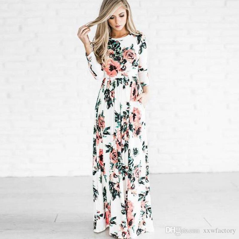 Femmes Sexy À Manches Longues D'été De Style De Mode Longue Robe De Soirée Loisirs Femme Floral Imprimer Dress Dames Maxi Dress