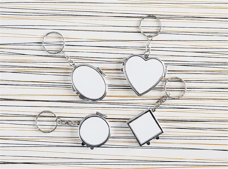 Sublimationsrohling Metall Schlüsselanhänger für Frauen Männer Mode Make-up Spiegel Schlüsselanhänger für Wärmeübertragung Materialien neuen Stil Großhandel