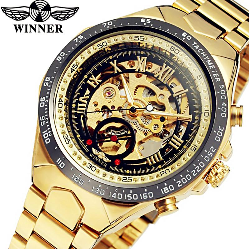 Automatische Armee Armbanduhr Uhren Gold Edelstahl Geschenk Herren Luxus Sport Männer Gewinner Skeleton Mechanische eWrdCxBQoE