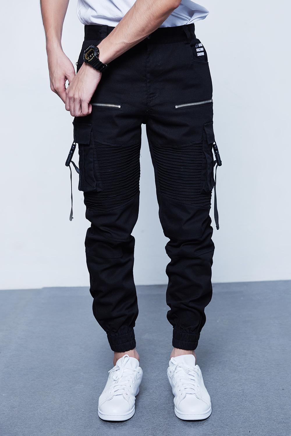 TKPA Multi Pockets Pants Mens Spring Clothing Black Cargo Long Pants Button Fly Design Slim Fit Trousers Clothes Hip Hop Punk
