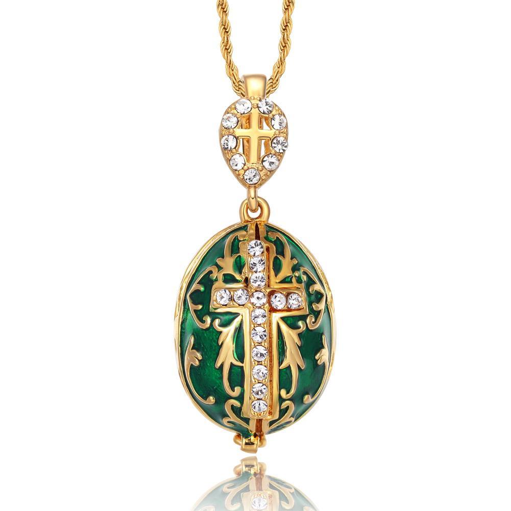 Le plus chaud bijoux émail fait main Pâques Jésus Croix Fabergé Oeuf Pendentif Charme Cristal Strass Collier piercing Cadeau Aux Femmes