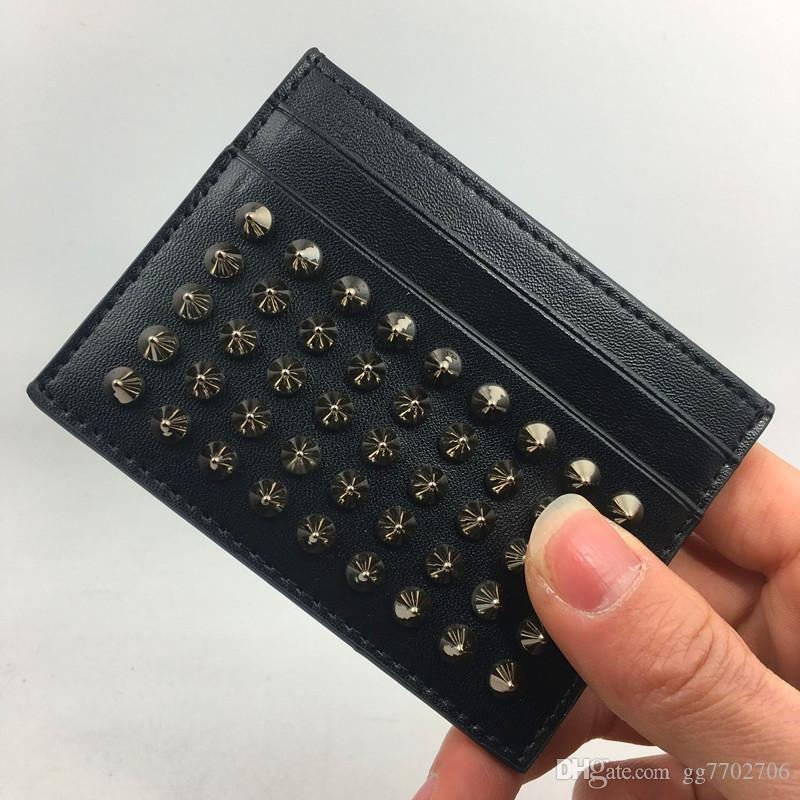 Black Genuine Leather Credit Card Holder Wallet Classic Rivet Designer ID Card Case Coin Purse 2018 New Arrivals Fashion CL Slim Pocket Bag