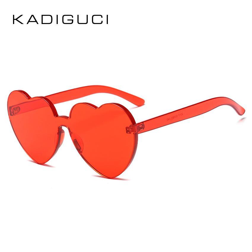 e8eab80d6a KADIGUCI Love Heart Shape Sunglasses Women 2018 Rimless Frame Clear ...