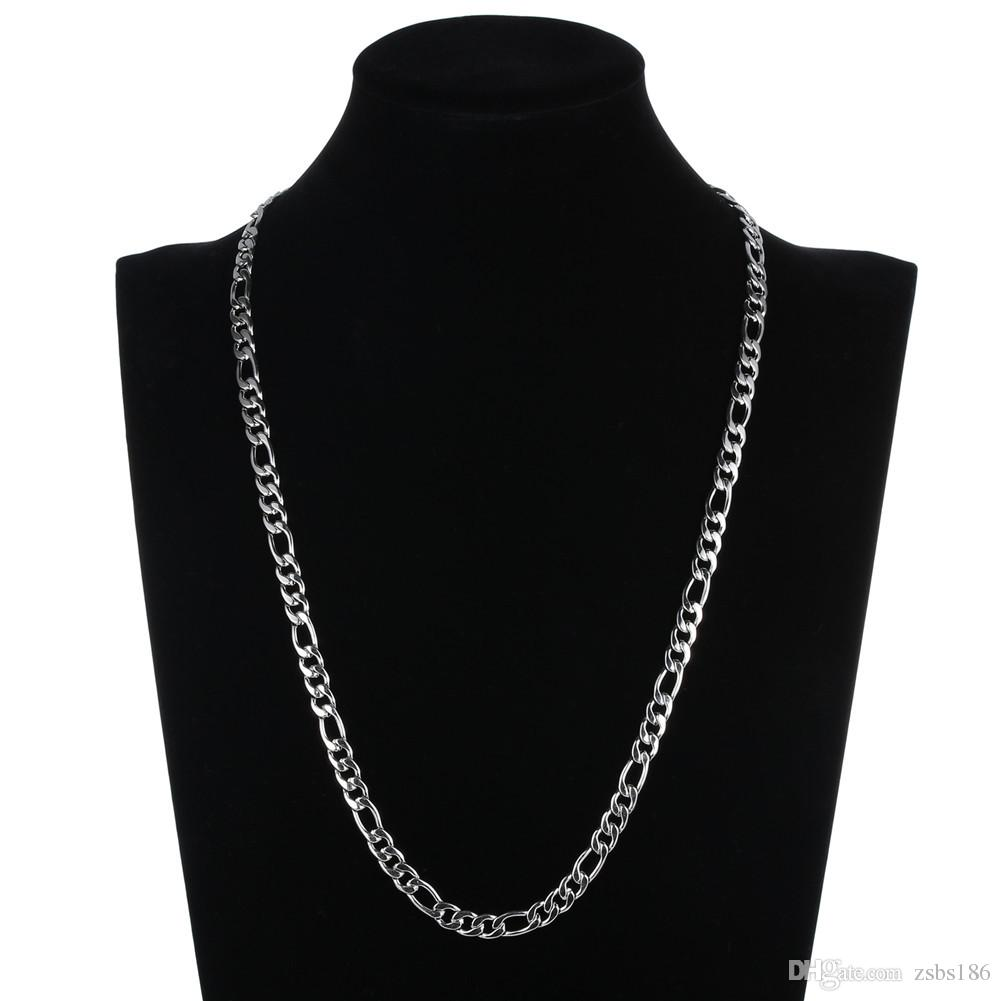 Low Price Wholesale 4MM Stainless Steel NK Figaro Chain Necklace Fashion Cool Men's Jewelry Length 50 55 60 70CM
