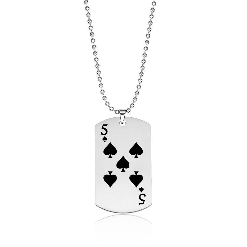 Spade Poker Collares pendientes Acero Inoxidable Tarjeta de Juego Etiqueta de Perro Joyería Mujeres Hombres Encanto Moda Nueva Llegada al por mayor