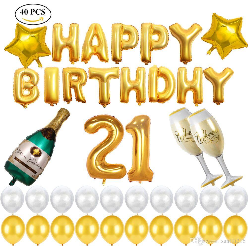 21st Birthday Decorations Party Supplies Set With Large Champagne Foil Balloons Gold Stars And Latex For Supply