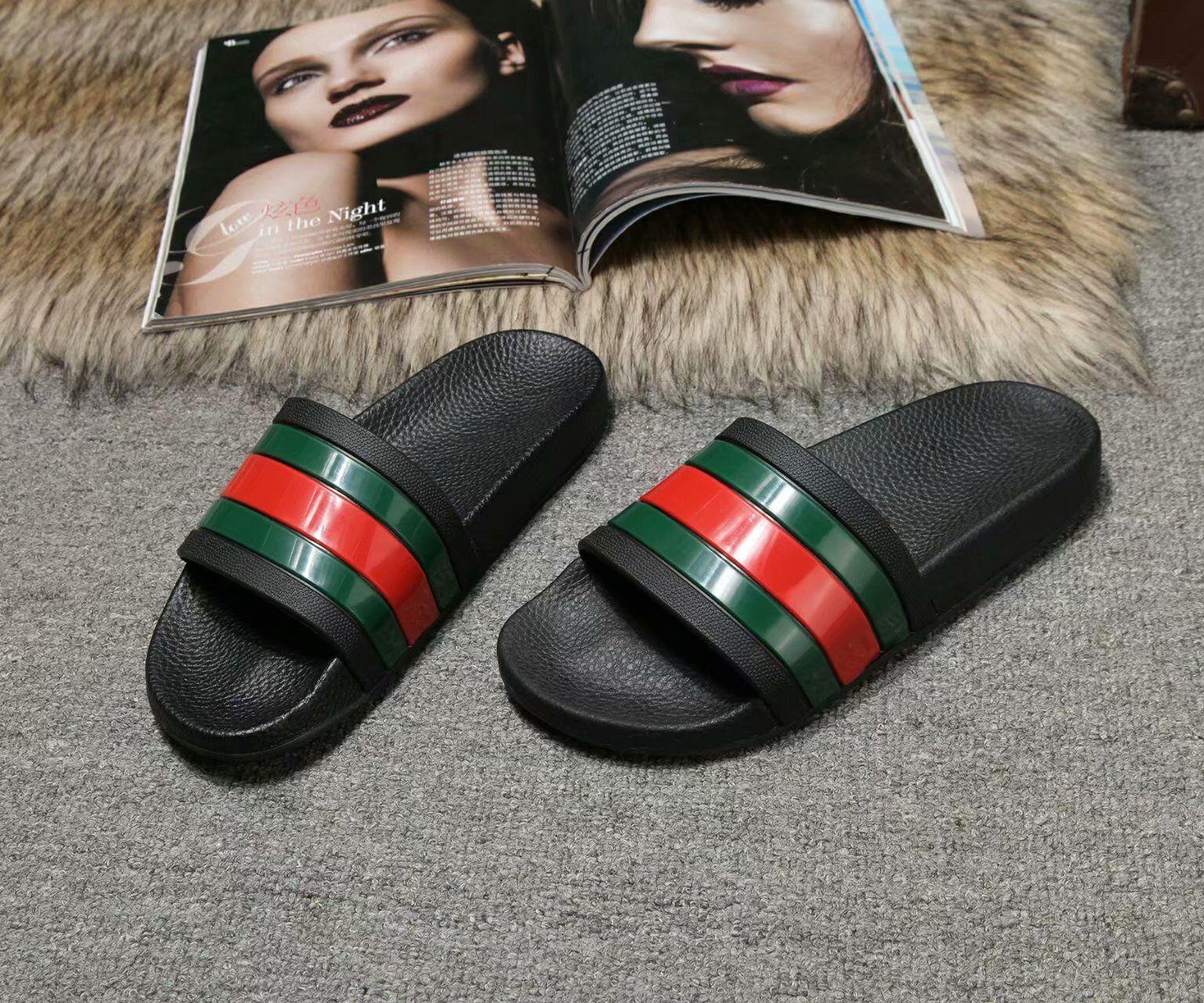 bb1449cd0 Hot Sale Brand Men Beach Slide Red Green Sandals 2019 Summer Outdoor  Slippers Mens Summer Beach Fashion Slip On Designer Sandals Slide Strip  Wedge Sneakers ...