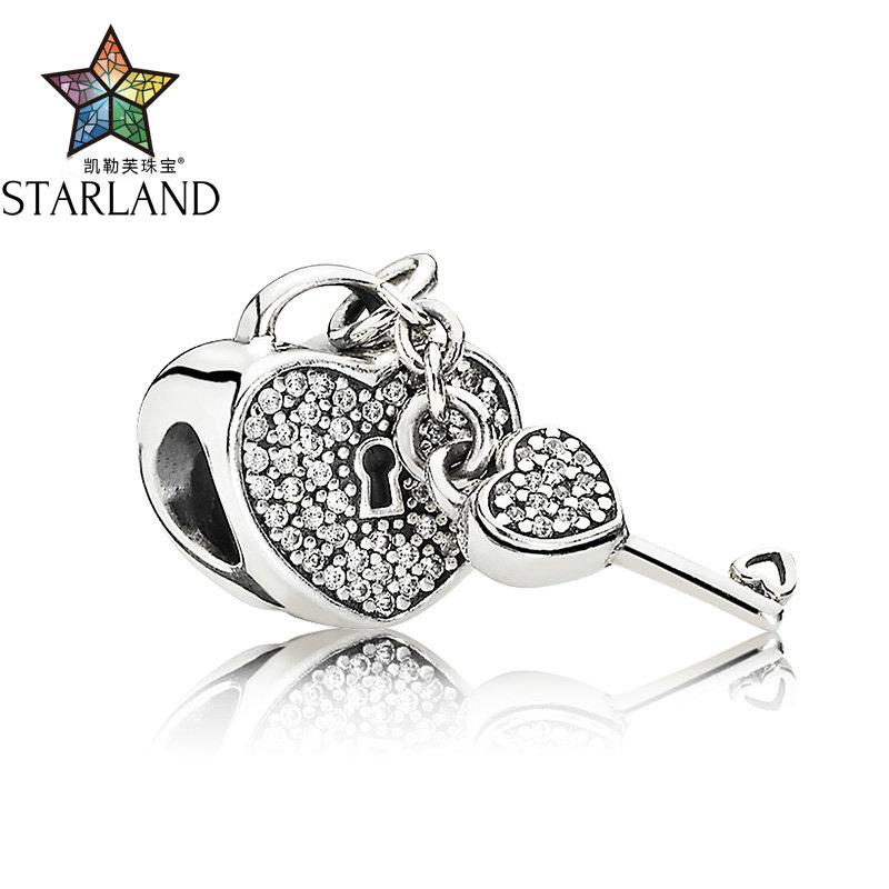 8264bee712 Starland Fashion Silver 925 Lock Of Love Charm Charms Beads Fit Original  Brand Padlock Pave Setting CZ Bracelet DIY Jewelry S18101607