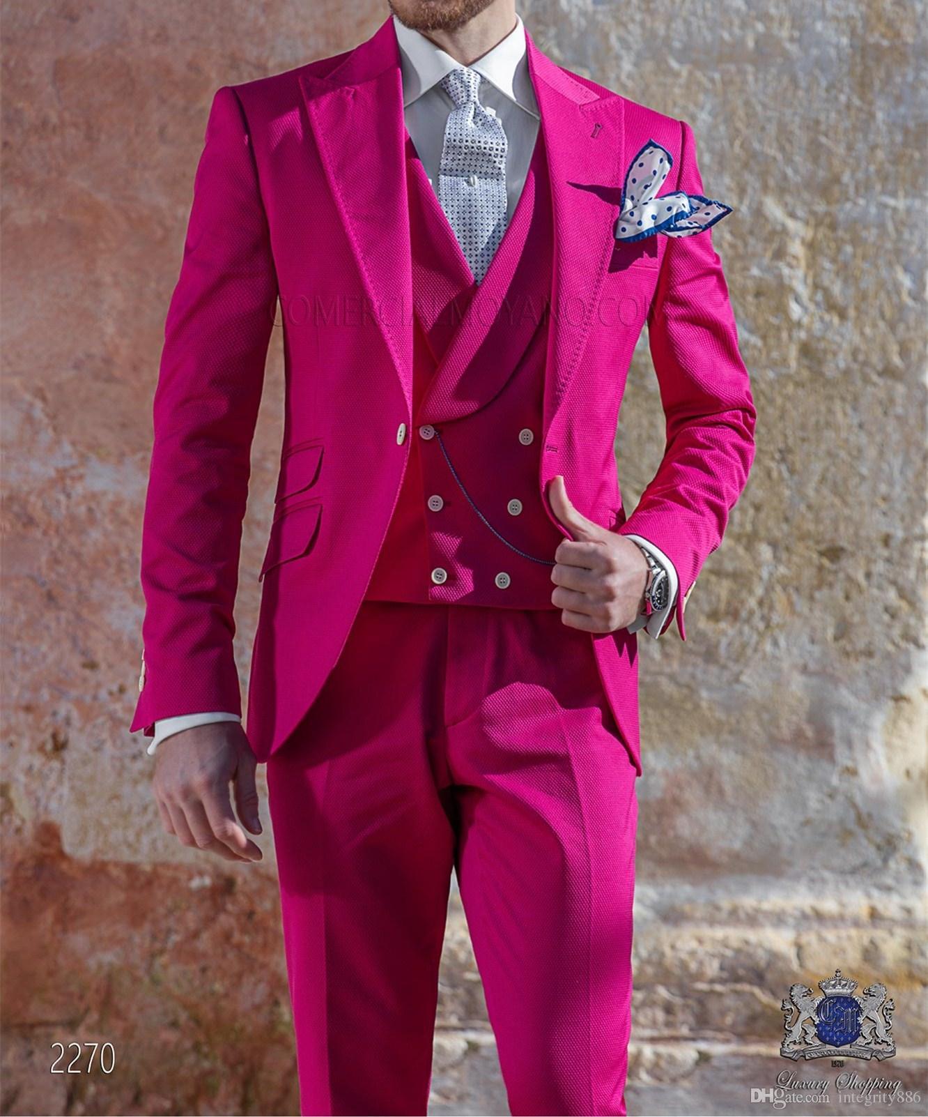 Compre Moda Hot Pink 3 Piezas Traje Hombres Boda Esmoquin Guapo ...