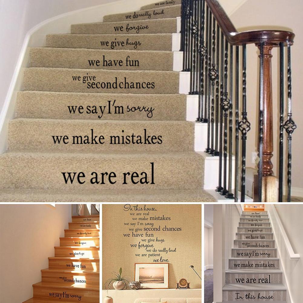 In questa casa Parete rimovibile Decorazione Soggiorno Scale Adesivo per  pavimento Scala Adesivo per casa