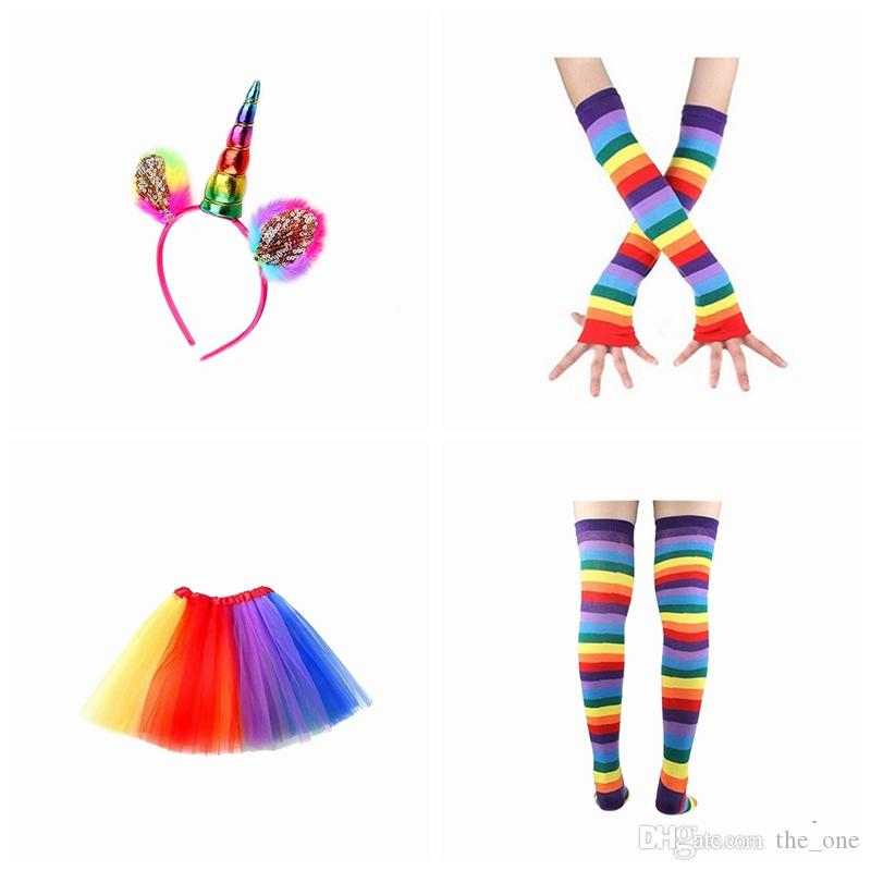 f13a93ace801 ful Kids Girls Rainbow Tutu Skirt With Unicorn Hair Hoop Headband ...