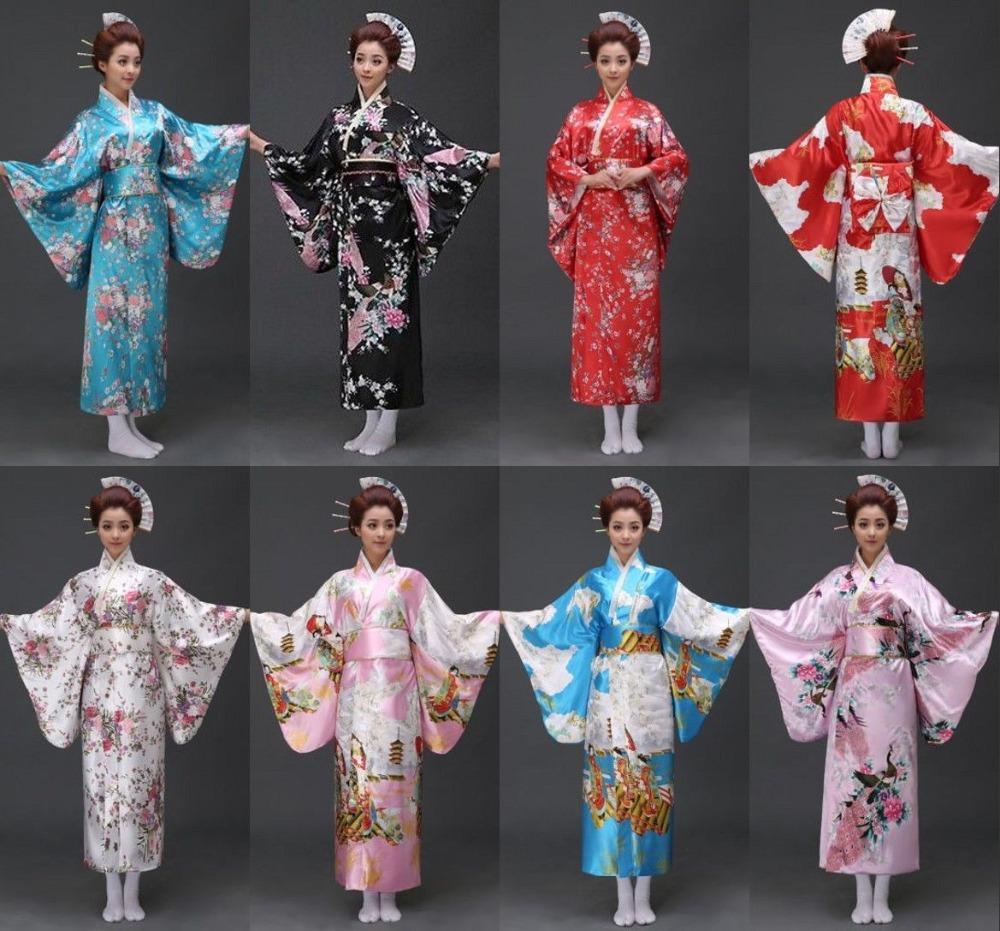 0f1f3a94d 17 estilos Vintage Geisha japonesa Kimono Yukata Haori traje Retro mujeres  vestido Obi Cosplay vestido envío gratis