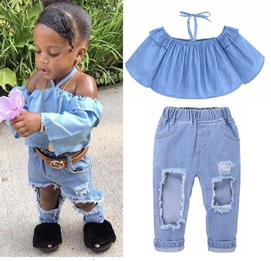 f172dfde1eb 2019 Girls Halter Tops+Holes Denim Pants Set Summer 2018 Kids Boutique  Clothing Euro America Fashion 1 6T Girls Outdoor Outfits From Jaderabbit