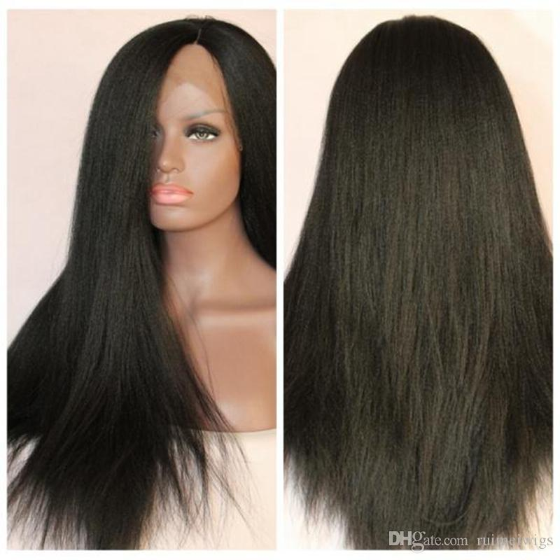 bf2c426e4 9A Italian Yaki Full Lace With Baby Hair Brazilian Virgin Lace Front  Ponytail Wigs For Black Women Human Hair Wigs Light Yaki Straight Full Lace  Wigs ...