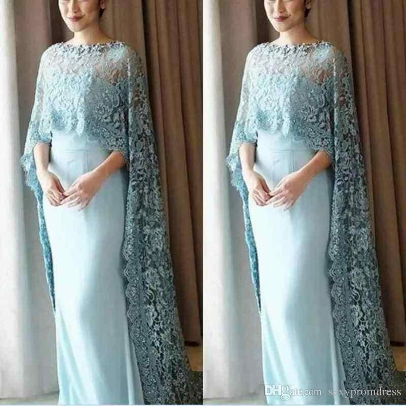 Light Blue Lace Cape Style Mother Of The Bride Dresses Chiffon Floor Length Prom Dress Custom Made Evening Gowns Vestidos