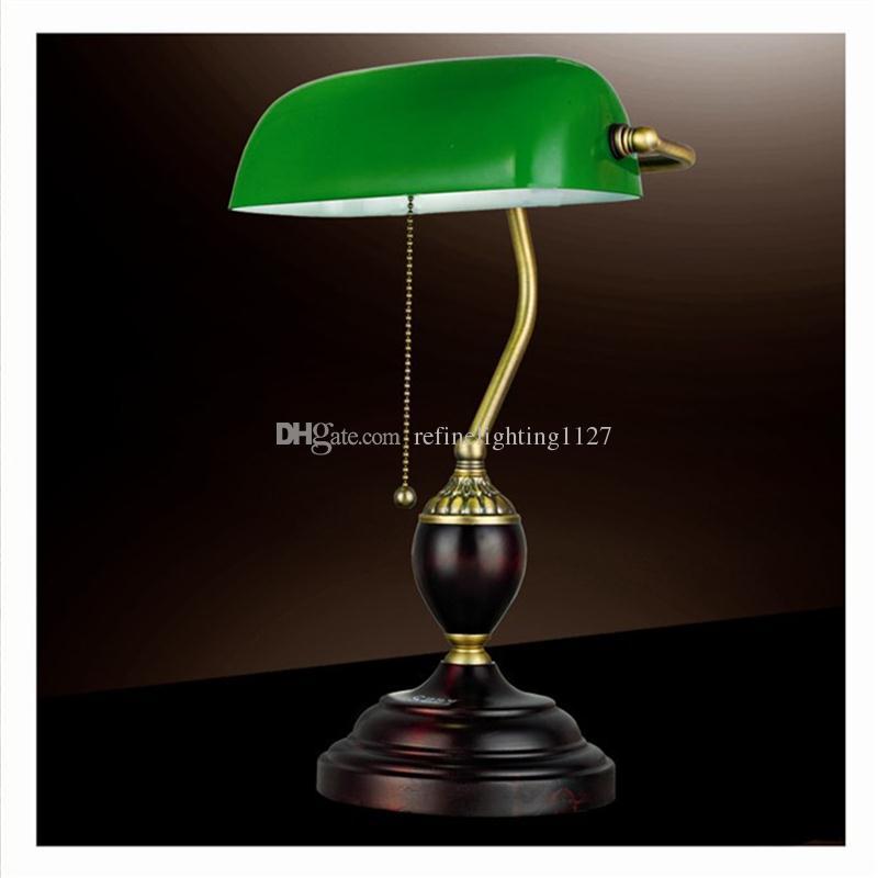 Nuit Lecture Lumière Verre Bureau Rétro Redwooden En Éclairage Étudiant Littéraire Banque Lampes Bois Rouge Vintage Table Emeraude Vert e29IYEWDH