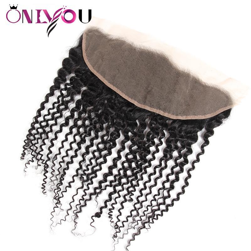 Onlyou Hair® 브라질 처녀 머리 상인 몸 파 13x4 레이스 정면 마감 똑 바른 깊은 파 비꼬 인 꼬부라 진 브라질 레이스 정면 뭉치