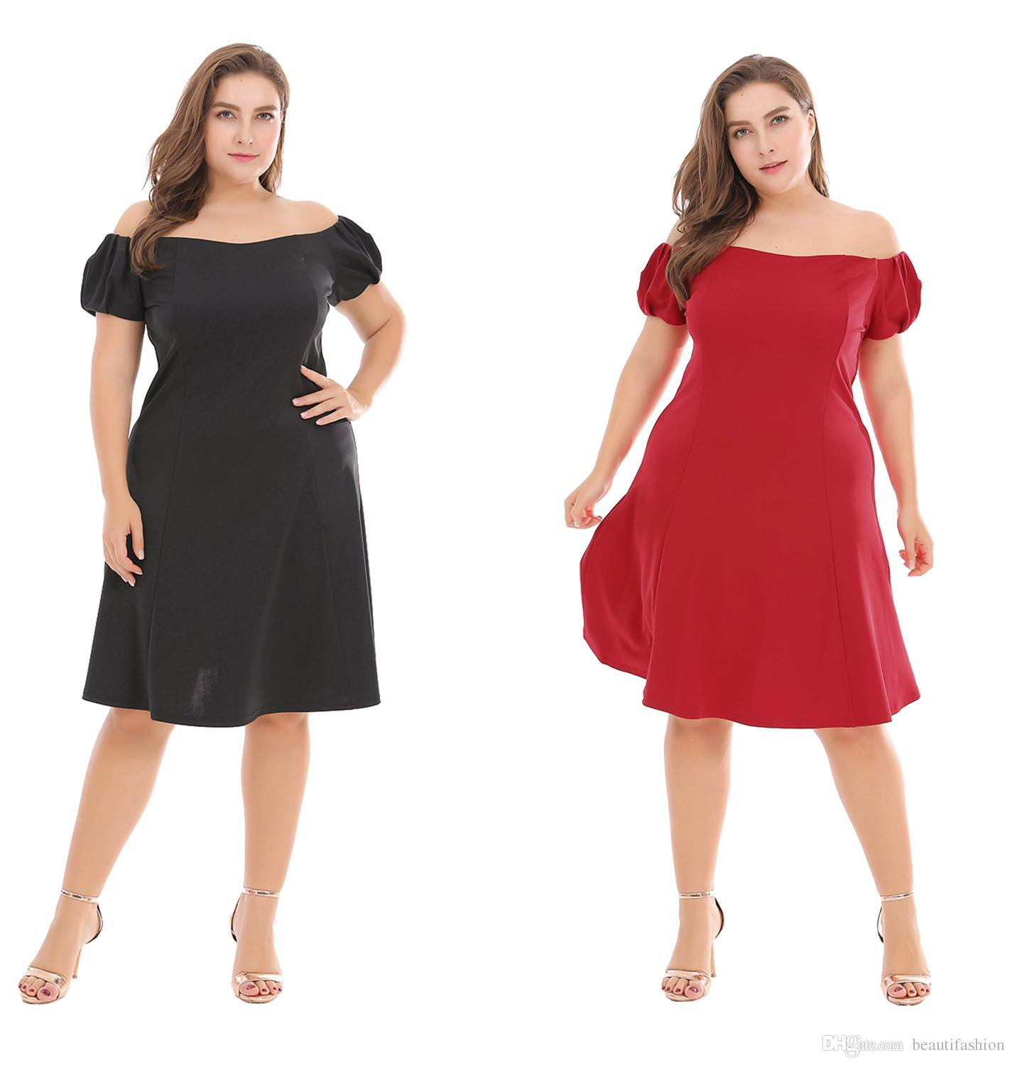 c9623a44ee756 2019 Summer Casual New Women's Off The Shoulder Short Sleeve simple daily  solid color Plus Size Dress