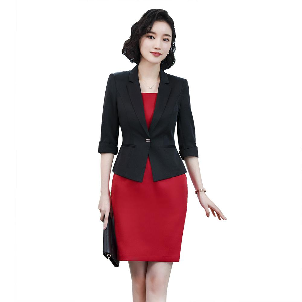 1374ef9d06 Compre Trajes De Vestir De Oficina De Las Mujeres Chaqueta Blazer Plus Size Elegante  Vestido De Lápiz Rojo Blazer Negro Conjunto De Dos Piezas De Oficina De ...