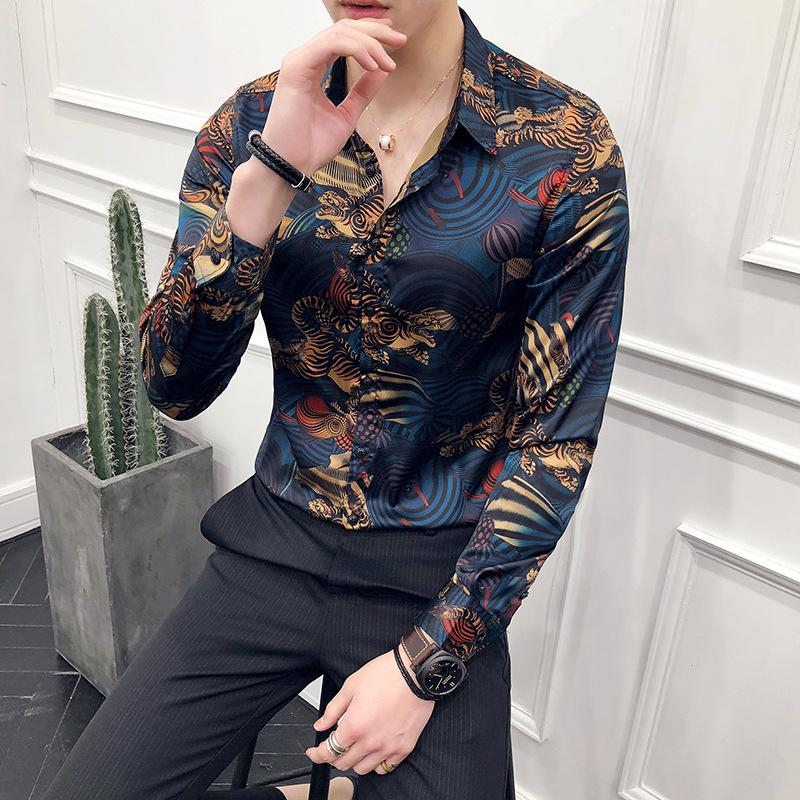 0b0c2379db6b 2019 Luxury Animal Print Fashion Show Vintage Shirt Men Camisa Masculina  Slim Fit Club Party Prom Printed Mens Shirt Chemise Homme From Beenni, ...