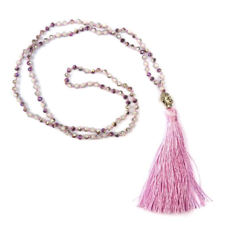 Mode Böhmische Halskette 925 Silber Buddha Multi Glasperlen Lange Halskette Kristall Quaste Halsketten Für Frauen Party Halskette Geschenk