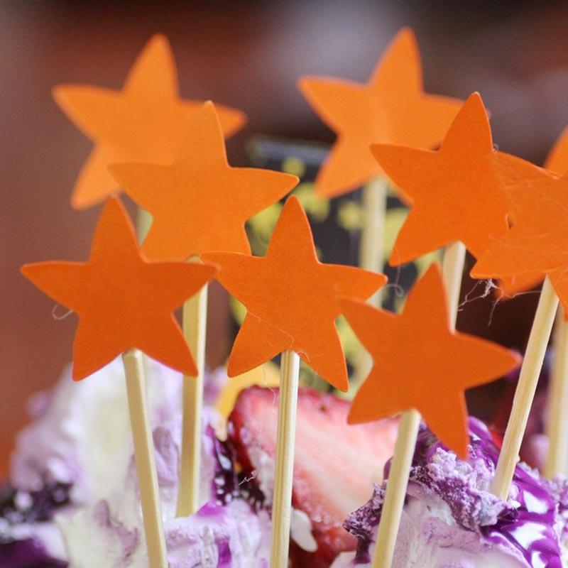 Five Star Cupcake Cake Topper DIY Wedding Cake Stick Picks Dessert Cream Decorating Tools Kids Birthday Party Favors 8Z