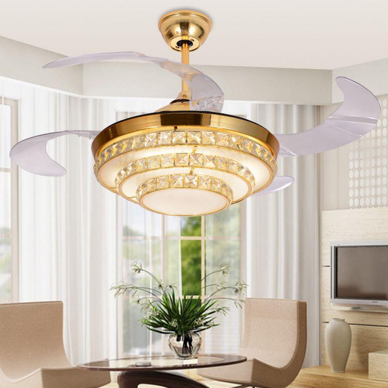 Современный светильник для скрытого вентилятора Хрустальный потолочный вентилятор Лампа для телеконтроля в ресторане 42 дюйма Невидимые лезвия Потолочные вентиляторы