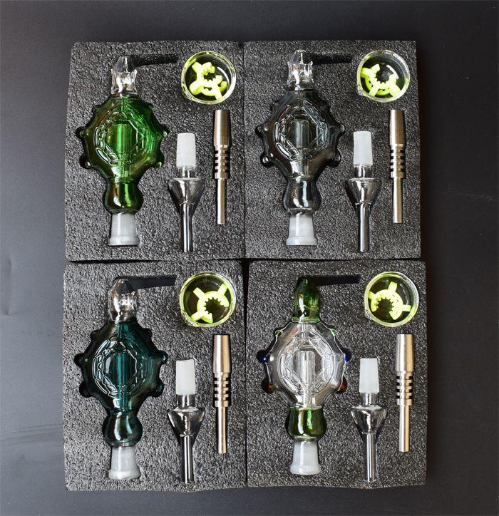 Şeffaf / Mavi / Siyah / Yeşil Nektar Kollektör 3,0 Perc kolye Giyilebilir Cam borular 14mm Titanyum Nail Nektar Toplayıcı