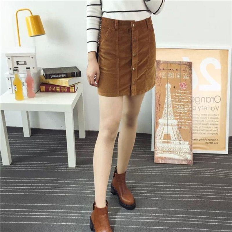 fb671e0c6382 2019 Single Breasted Dual Pocket Skirt 2018 Autumn Plain Burgundy A Line  Mini Skirt Women Mid Waist Button Casual Corduroy Skirt From Lixlon08, ...