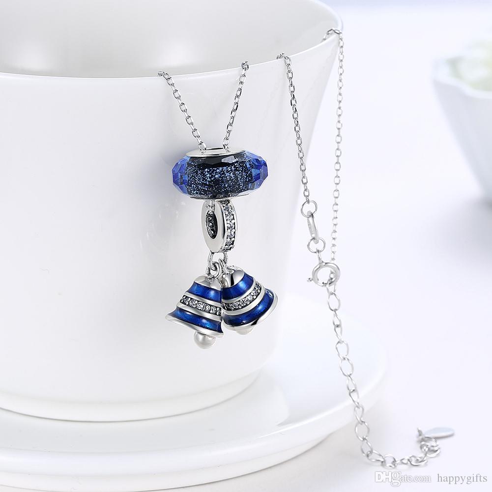 5c1e510df ... Hot sale popular genuine 925 sterling silver fit pandora charms necklace  blue bell women DIY European ...