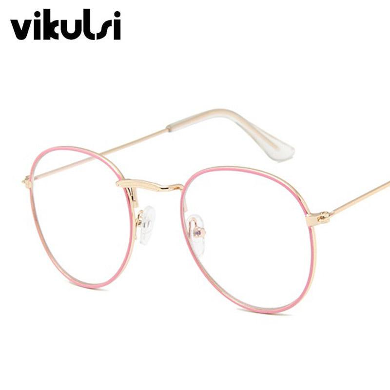 2019 2019 Round Gold Frame Glasses Female Classic Pink Glasses